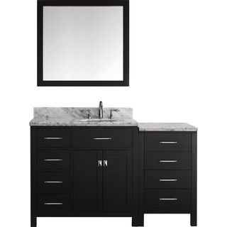 Virtu USA Caroline Parkway 57-inch Single Bathroom Vanity Set with Left Mounted Drawers