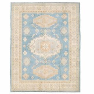 Herat Oriental Afghan Hand-knotted Kazak Blue/ Ivory Wool Rug (7'11 x 10')