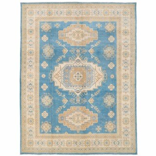 Herat Oriental Afghan Hand-knotted Kazak Blue/ Ivory Wool Rug (8' x 10'4)