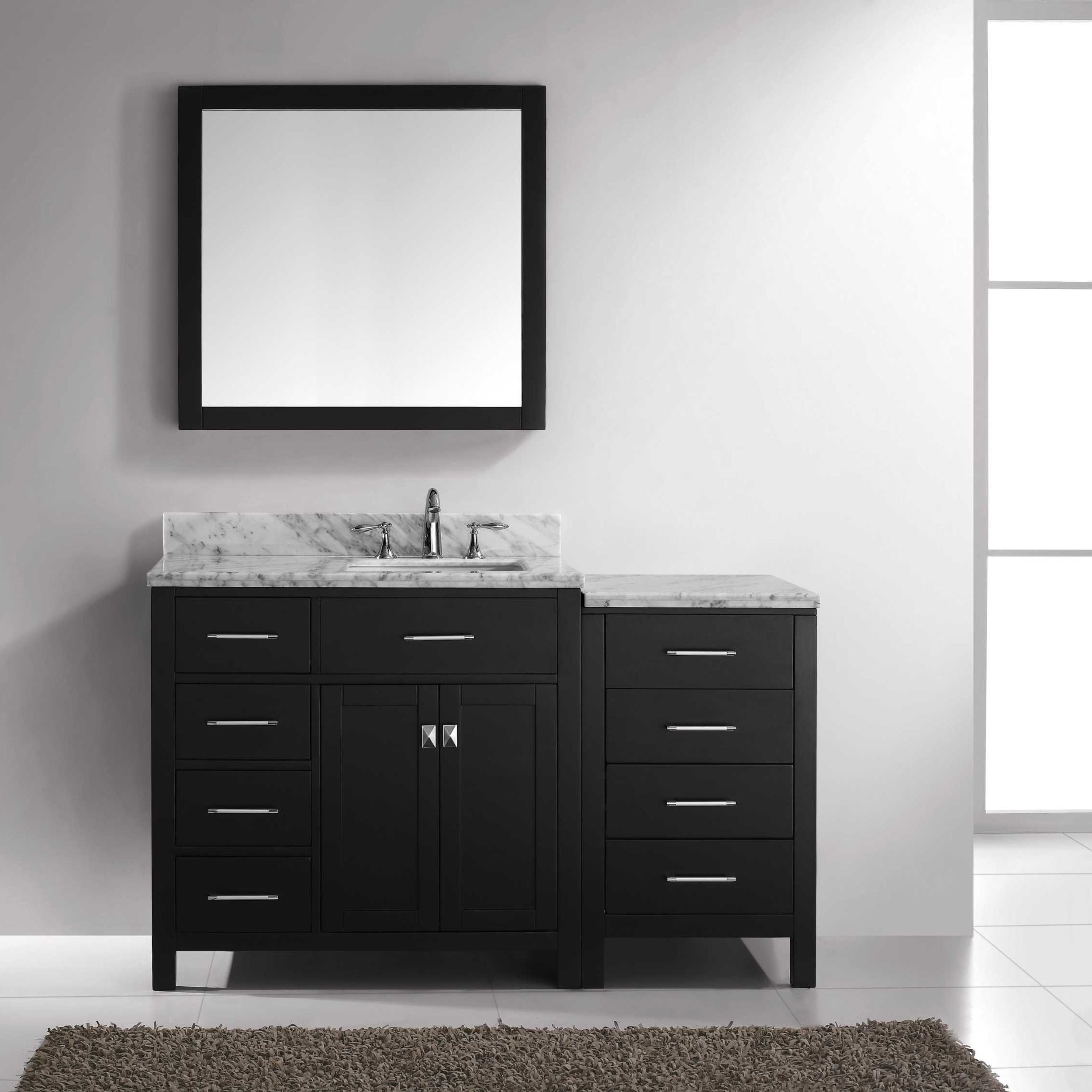 Virtu Usa Caroline Parkway 57 Inch Single Bathroom Vanity Set With Faucet And Left Mounted Drawers Overstock 11884727
