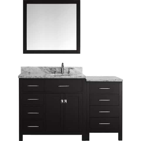 Virtu USA Caroline Parkway 57-inch Single Bathroom Vanity Set with Faucet and Left Mounted Drawers