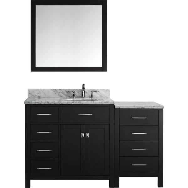 Virtu Usa Caroline Parkway 57 Inch Single Bathroom Vanity Set With Faucet And Left Mounted