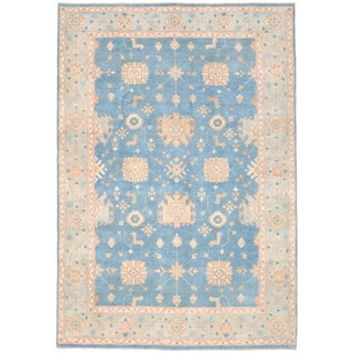 Herat Oriental Afghan Hand-knotted Kazak Blue/ Ivory Wool Rug (6' x 8'10)