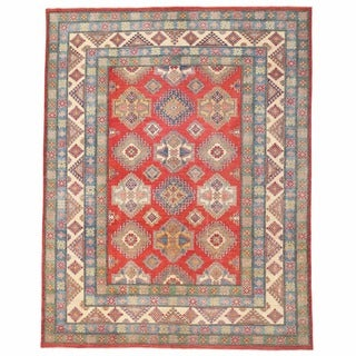 Herat Oriental Afghan Hand-knotted Kazak Red/ Ivory Wool Rug (10'5 x 13'4)