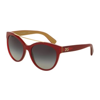 D&G Women's DG4280F 29688G Red Plastic Round Sunglasses