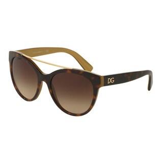 D&G Women's DG4280 295613 Havana Plastic Round Sunglasses