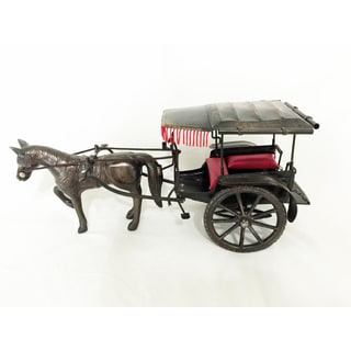 Metal Horse Carriage Trolley Decor