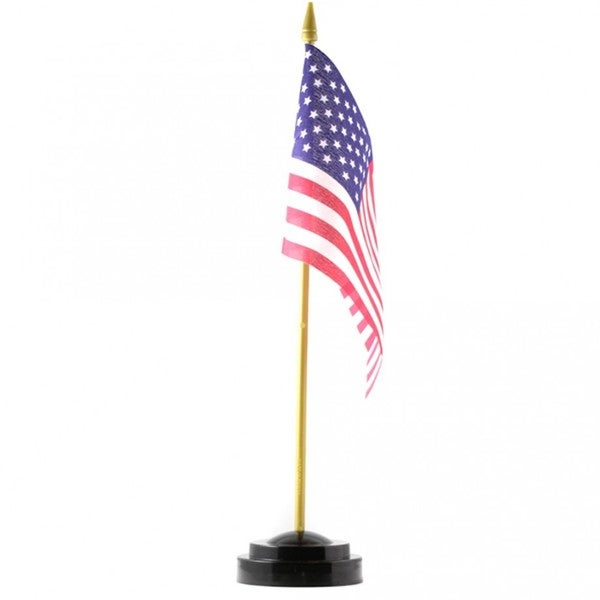 United States of America Multicolored Polyester Desk Flag with Stand (4 x 6)