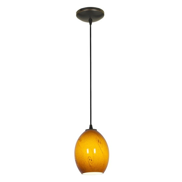 Access Lighting Brandy FireBird Bronze Fluorescent Cord Pendant with Amber Sky Shade