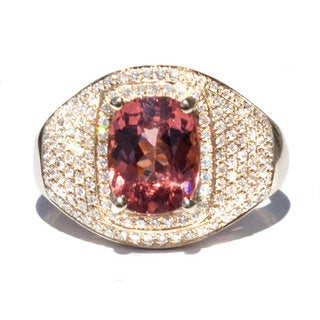 California Girl Jewelry 14k Yellow Gold Malaya Garnet and 2/5ct TDW Diamond Ring Size 6.5 (G, VS)