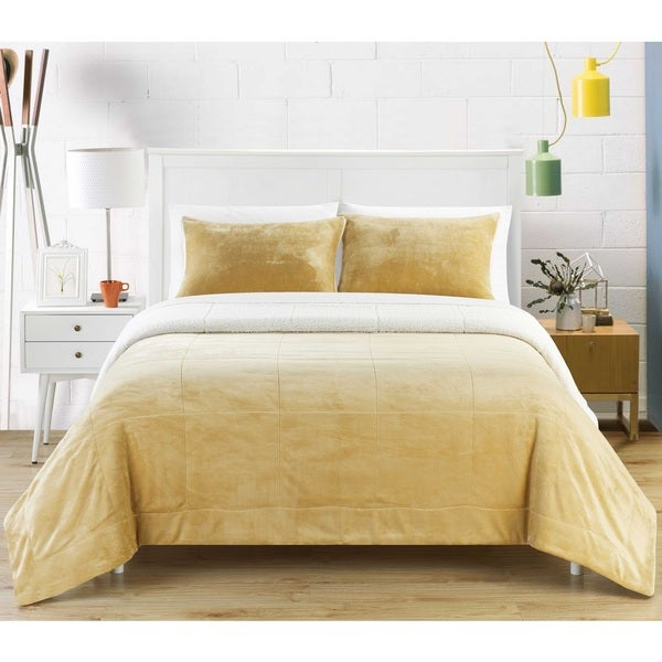 Chic Home Ernest 2-Piece Sherpa Blanket,Camel. Opens flyout.