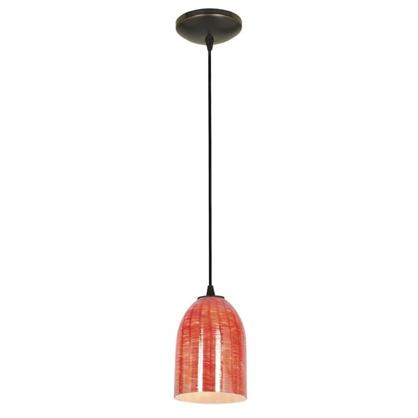 Access Lighting Bordeaux Bronze Fluorescent Cord Pendant with Wicker Red Shade