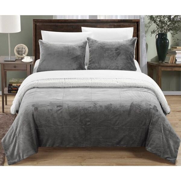Chic Home Ernest 2-Piece Sherpa Blanket,Grey