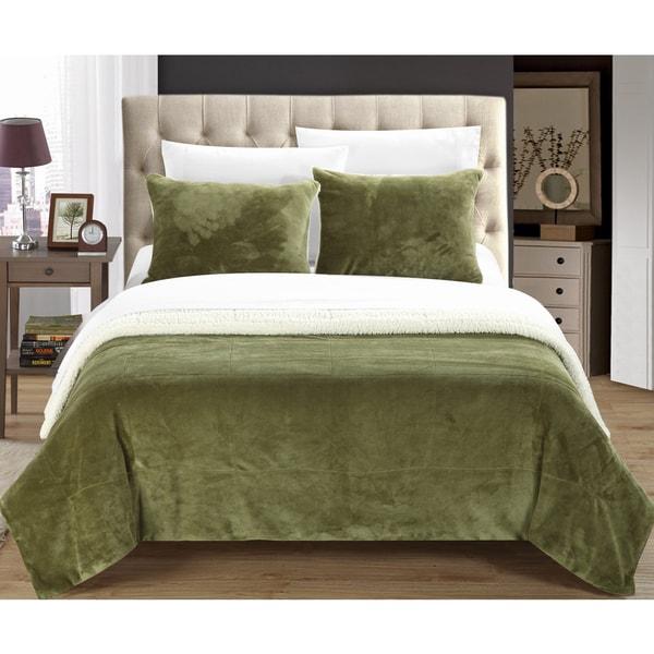 Chic Home Ernest 2-Piece Sherpa Blanket, Green