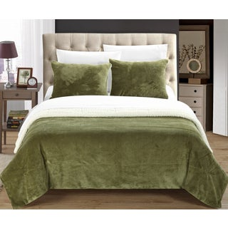Chic Home Ernest 2-Piece Sherpa Blanket, Green