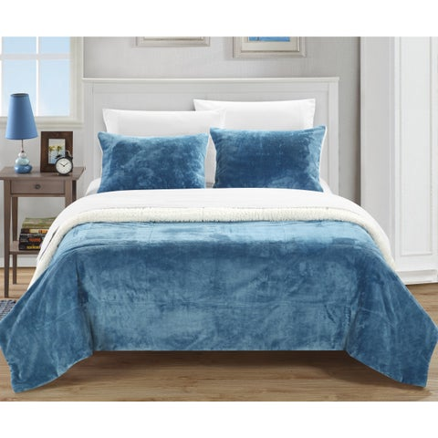 Chic Home Ernest 2-Piece Sherpa Blanket, Blue