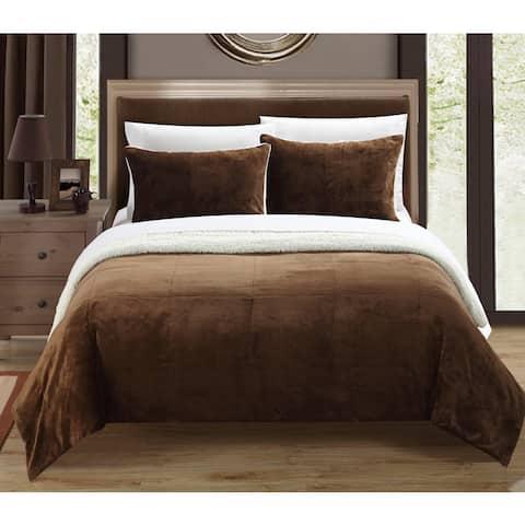 Chic Home Ernest 2-Piece Sherpa Blanket, Brown