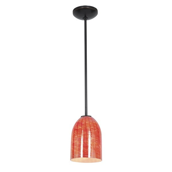 Access Lighting Bordeaux Bronze Fluorescent Rod Pendant with Wicker Red Shade