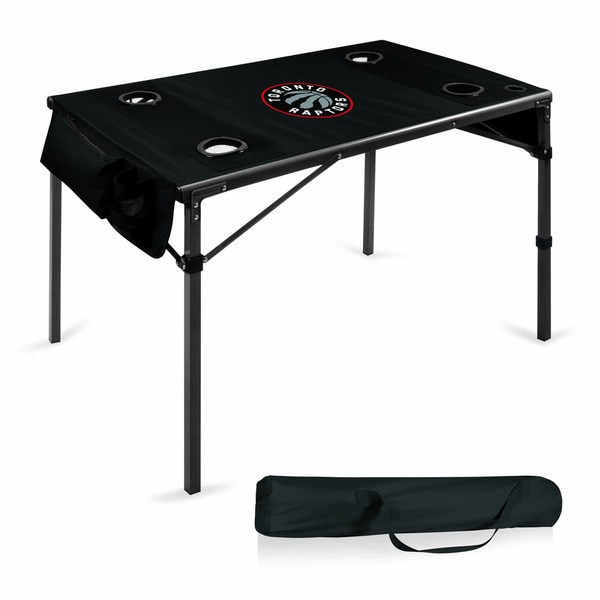Picnic Time Toronto Raptors Black Metal/Polyester 42.5-inch x 27.5-inch x 27.5-inch Folding Travel Table
