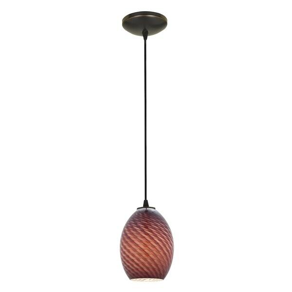 Access Lighting Brandy FireBird Bronze Cord Pendant with Plum Firebird Shade