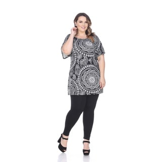 White Mark Women's Black/White Plus-size Thyra Tunic Dress