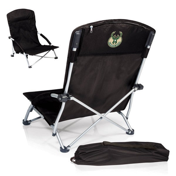 Picnic Time Black Milwaukee Bucks Tranquility Portable Beach Chair