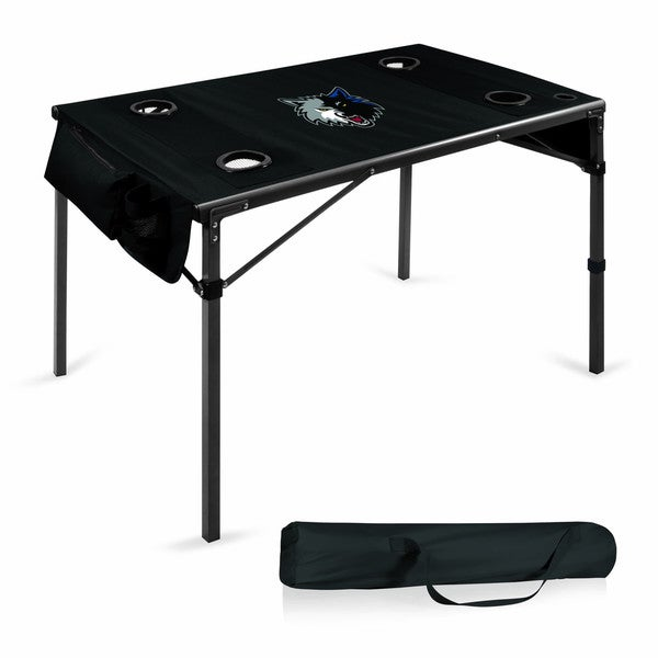 Picnic Time Minnesota Timberwolves Black Polyester and Metal Travel Table
