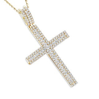 Luxurman Women's 14-karat Gold 1.36-carat Diamond Cross Pendant