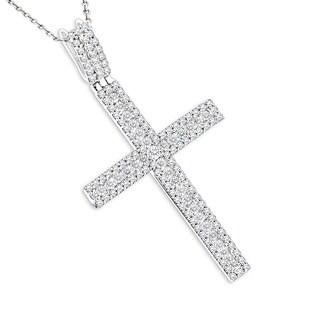 Luxurman Women's 14-karat Gold 1.36-carat Diamond Cross Pendant (G-H, SI)