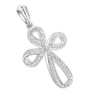 Luxurman Women's 14-karat Gold Diamond Cross Pendant