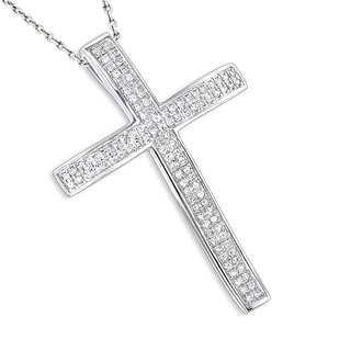 Luxurman 14k White or Yellow Gold Diamond Cross Pendant Necklace
