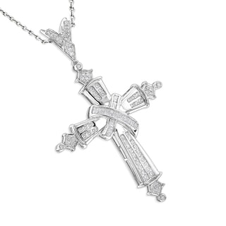 Luxurman 14k Gold 2.50ct Men's Large Diamond Cross Pendant