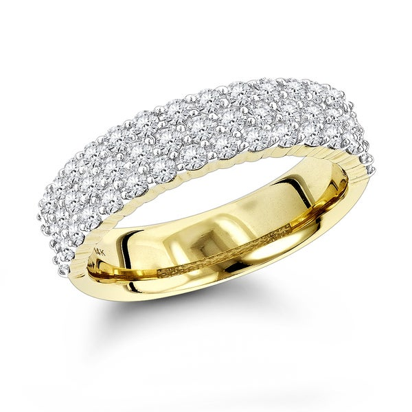 Luxurman 14-karat Gold 1ct TDW Round-cut Diamond Wedding Band (G-H, VS1-VS2)