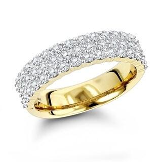 Luxurman Women's 14-karat Gold 1.01-carat Round-cut Diamond Wedding Band