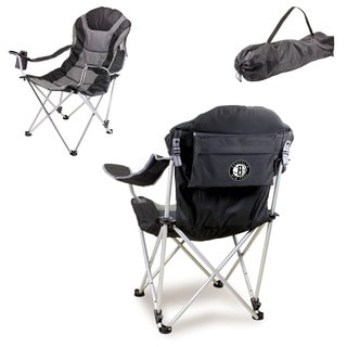 Picnic Time Black Brooklyn Nets Reclining Camp Chair