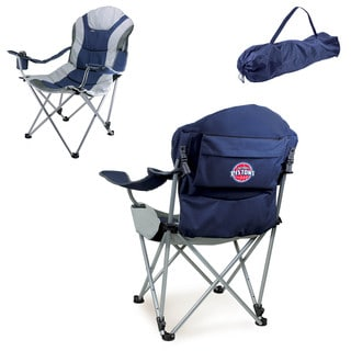 Picnic Time Detroit Pistons Blue and Grey Metal and Polyester Reclining Camp Chair