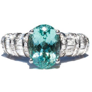 California Girl Jewelry 14k White Gold Paraiba Seafoam Green Tourmaline and Diamond Ring (Size 6.5)