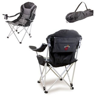 Picnic Time Miami Heat Black Polyester and Metal Reclining Camp Chair