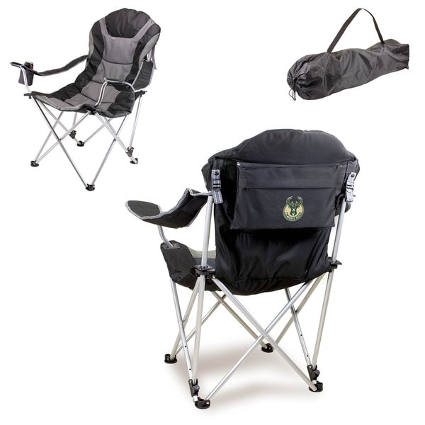 Picnic Time Milwaukee Bucks Black Polyester Reclining Camp Chair