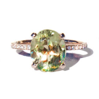 California Girl Jewelry 14k Rose Gold Color-Changing Diaspore and 2/5ct TDW Diamond Ring Size 6.5
