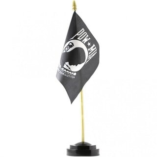 POW MIA Black Polyester 4-inch x 6-inch Desk Flag With Stand