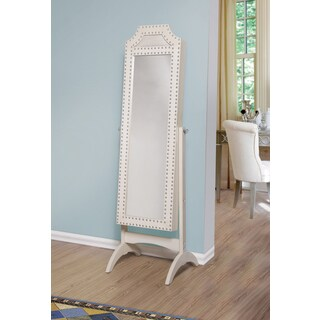 Nima Jewelry Armoire Cheval Mirror - White