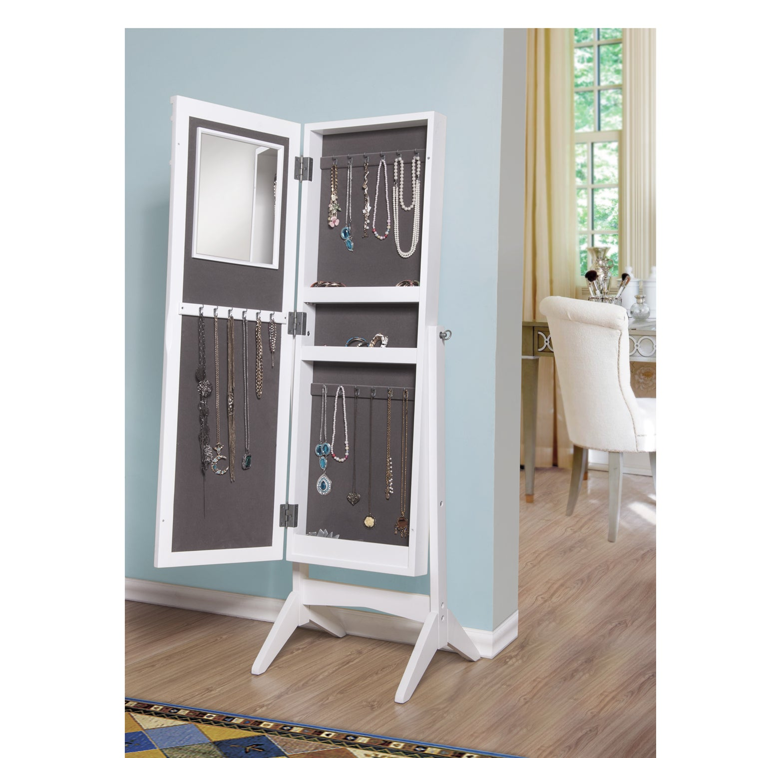 Ashley Jewelry Armoire Cheval Mirror White Free Shipping Today 11885696
