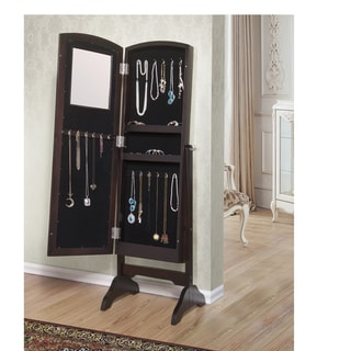 Abby Jewelry Armoire Cheval Mirror - Espresso