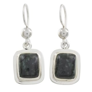 Sterling Silver 'Elegant Heritage' Jade Earrings (Guatemala)