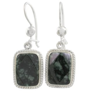Sterling Silver 'Maya Forest Princess' Jade Earrings (Guatemala)