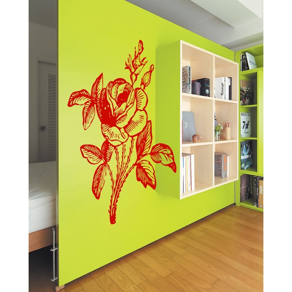 Elegant Flower Rose Wall Art Sticker Decal Red - Free Shipping On ...