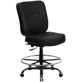 Tuva Big and Tall Black Leather Armless Adjustable Drafting Office Chair