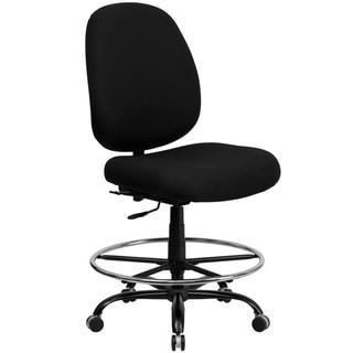 Tibi Black Finish Fabric Armless Office Chair