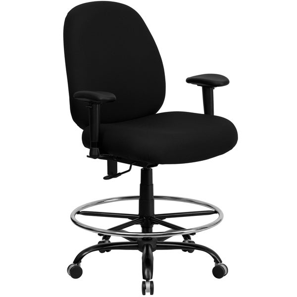 Tibi Big and Tall Black Fabric Drafting Office Chair With Footrest Ring and Height Adjustable Arms